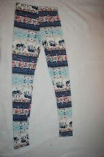 Jr Womens PRETTY ELEPHANT LEGGINGS Super Soft BLUE PINK TEAL Paisley Roses S-M