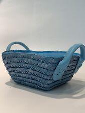 M Pop Blue Square Basket Straw Wicker Home Storage Hamper Fake Leather Handle