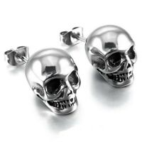 1 Pairs Skull Fashion Punk Hip Hop Skeleton Ear Stud Earrings Men Women Jewelry