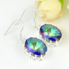 Superb Oval Fire Mystic Blue Topaz Gem Silver Plated Drop Earrings