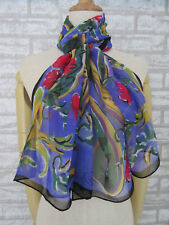 Woman's New Blue&Red Paisley Floral 100%Silk Long Scarf