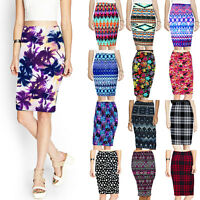 NEW LADIES PLAIN CUSUAL WOMENS STRETCH BODYCON MIDI FLORAL JERSEY PENCIL SKIRT