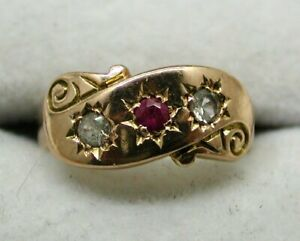1893 Victorian 9 carat Rose Gold Ruby and White Spinel Gypsy Ring Size I.1/2