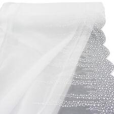 Gardinenstoff Stores Stickerei weiß kleine Blüten Bogenabschluss 2,80m Höhe
