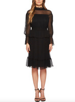 See By Chloe Womens Black Silk Crepon Dress Sz 40 10798