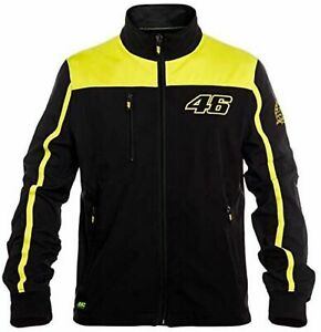 VR46 Casual Jacket > Valentino Rossi Soft Shell Zip Up Jacket Top Black, Yellow