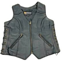 Xelement Thick Black Leather Zip Biker Motorcycle Vest Women Size Large