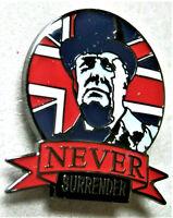 W.W.2. NEVER SURRENDER WINSTON CHURCHILL BRITISH ENAMEL PIN BADGE UNION JACK