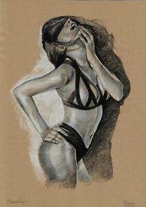 original drawing A3 39DO art samovar modern female nude pastel signed 2020