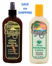 Caribbean Breeze Combo Carrot Oil Spray & Aloe Moisturizer Sun Tan Tanning Bed