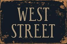 "West Street 8"" x 12"" Vintage Aluminum Retro Metal Sign VS516"