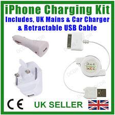 Kit voyage iPhone de recharge, câble usb rétractable, mains & chargeur de voiture, 3, 4, 4S