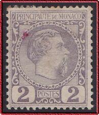1885 MONACO N°2* Prince Charles III, 2c Violet-Gris, Bon Aspect, déf, MH