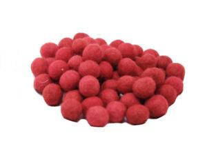 50 Perline Palle Di Feltro Naturale Rosso Ø 1.5 CM Nepal