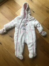 Disney Minnie Mouse Baby snowsuit All In One 3-6 Months With Mittens Disney