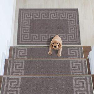 Greek Key Design Carpet Stair Treads/Mat Slip Resistant 8.5''x26.5''