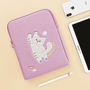 "High Quality 11"" Lavender Kitty Tablet ipad Padded Pouch Bag Case Pen Holder"