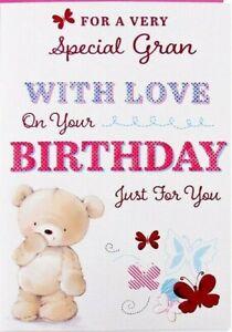 "Cute Bear With Butterflies ""SPECIAL  GRAN"" Birthday Card"