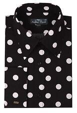 Men's 100% Cotton Dress Shirt Polka Dot White/Black AH616