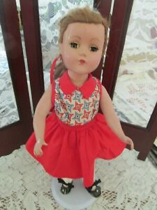 """Vintage Unmarked 14"""" HP doll, sleep eyes, Nice Condition, Stand Incl"""