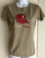 NWT Majestic Forever Phillies Ladies Short Sleeve Shirt Size Med Tan/Red