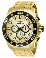 Invicta Men's Watch Pro Diver Chrono Gold Tone Dial Plated Steel Bracelet 26079