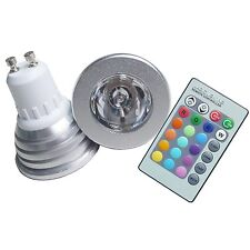 SPOT RGB LAMPADA FARETTO GU10 MULTICOLORE 3W POWER LED TELECOMANDO CROMOTERAPIA