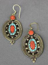 Nepal Tibetan Handmade Oval Earrings Turquoise Nuggets & Coral USA SELLER