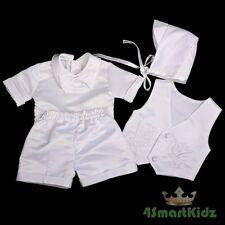 4 Pcs Embroidery Baptism Christening Short Suit Hat White Baby Boy Size 00 #019