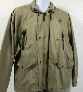 ORVIS Bush Poplin Safari Khaki Green Jacket Size XL Leather Trim Collar Hood