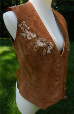 ORVIS Light Brown Tan Leather Vest Leather Front Floral Embroidered Butterfly S