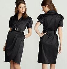 Black Satin Shirt Dress Size 10 Star By Julien Macdonald