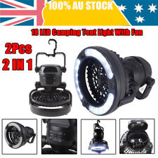 2x 2in1 18LED Tent Camping Light Night Lamp+Fan Weather Resistant Hand Held Hook