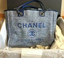 CHANEL Deauville Tote Chain Bag Blue Tweed Leather Shopping Purse New Guarantee