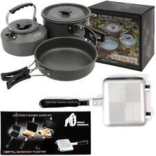 NGT 3 Piece Cook Set + Toasties Maker Cooking Kettle Frying Pan Pot Carp Fishing