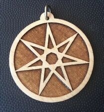 "Septagram Pentagram Fairy Star 1.75"" Pendant Necklace Carved Maple Wood #Gift"