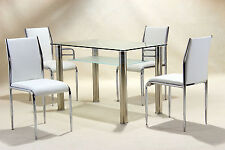 Dining Kitchen Table Clear Glass Top Frosted Shelf Chrome Legs Table Only