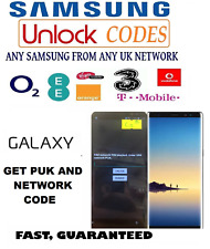 PUK + Network Unlock Codes for Samsung Galaxy All Models UK ireland networks