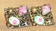 VERY VINTAGE OLD SMALL DIAMOND SHAPED SCRE BACK EARRING / STONES