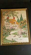 Vintage Framed Cloth Cross Stitched Colonial House In Woods