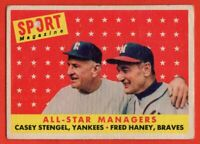 1958 Topps #475 Casey Stengel LOW GRADE MARK WRINKLE New York Yankees FREE S/H