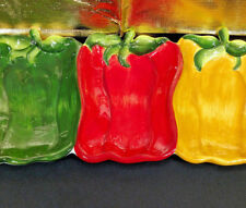 Green Red Yellow Peppers Ceramic Serving Dish Divided Platter Chip Dip Tray New