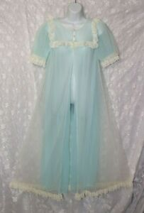 VTG Miss Elaine Double Layer Blue Chiffon Negligee Nightgown Peignoir S M