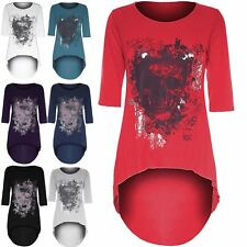 Womens Dip Hem High Low Top Ladies Gothic Butterfly Skull Foil Print Tunic Tops