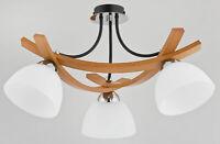 JONA BLACK - Wooden 3 Light Ceiling Lamp - Chandelier - Modern Light Glass Shade