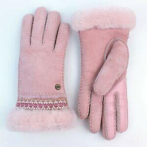 UGG Women's Sheepskin/Leather Tasman Pink Gloves sz: M