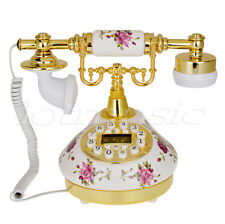 502 Retro Vintage Style White Rose Flower Ceramic Antique Telephone Desk Phone