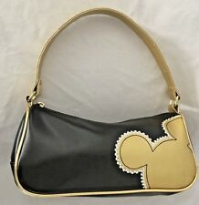 "Black Goldtone 3X5X10"" Disney Mickey Mouse Purse with 2 Pockets & 13"" Handle"