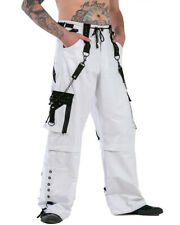 Dead Threads Mens Cyber Goth Rave Baggy Pants Zip Off Wide Trousers White Black