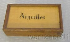 antique French AIGUILLES WOOD BOX needle Sharps Prickles embroidery needlebooks